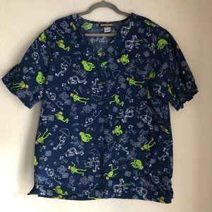 The Muppets Kermit Blue Floral Scrub Top Size L